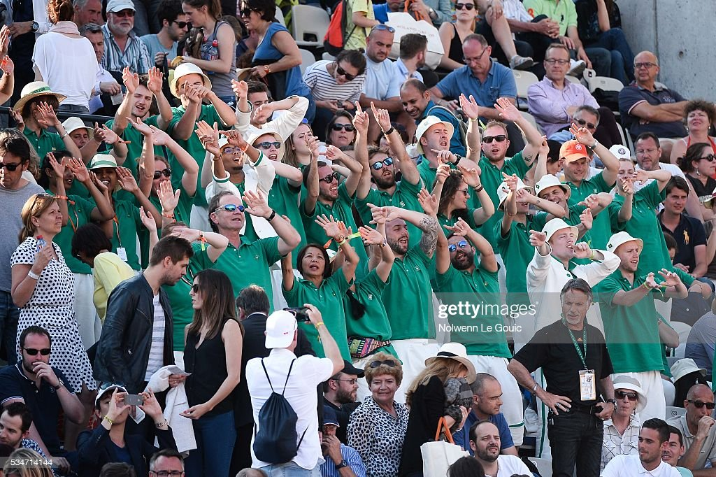 Gilles Simon fans during the Men's Singles third round on day six of the French Open 2016 at Roland Garros on May 27, 2016 in Paris, France.