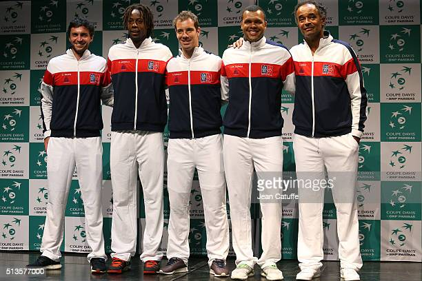 Gilles Simon Gael Monfils Richard Gasquet JoWilfried Tsonga and captain of France Yannick Noah attend the draw ceremony for the first round Davis Cup...