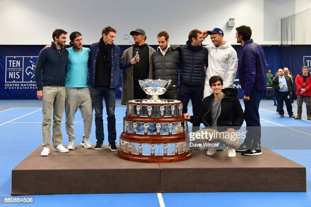 Gilles Simon Lucas Pouille Nicolas Mahut team captain Yannick Noah Richard Gasquet Julien Benneteau Pierre Hughes Herbert Jo Wilfied Tsonga and...