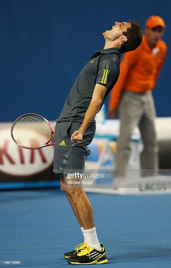 Gilles Simon of France celebrates his win in his third round match against Gael Monfils of France in the 2013 Australian Open at Melbourne Park on January 19, 2013 in Melbourne, Australia.