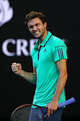 Gilles Simon of France celebrates in his fourth round match against Novak Djokovic of Serbia during day seven of the 2016 Australian Open at...