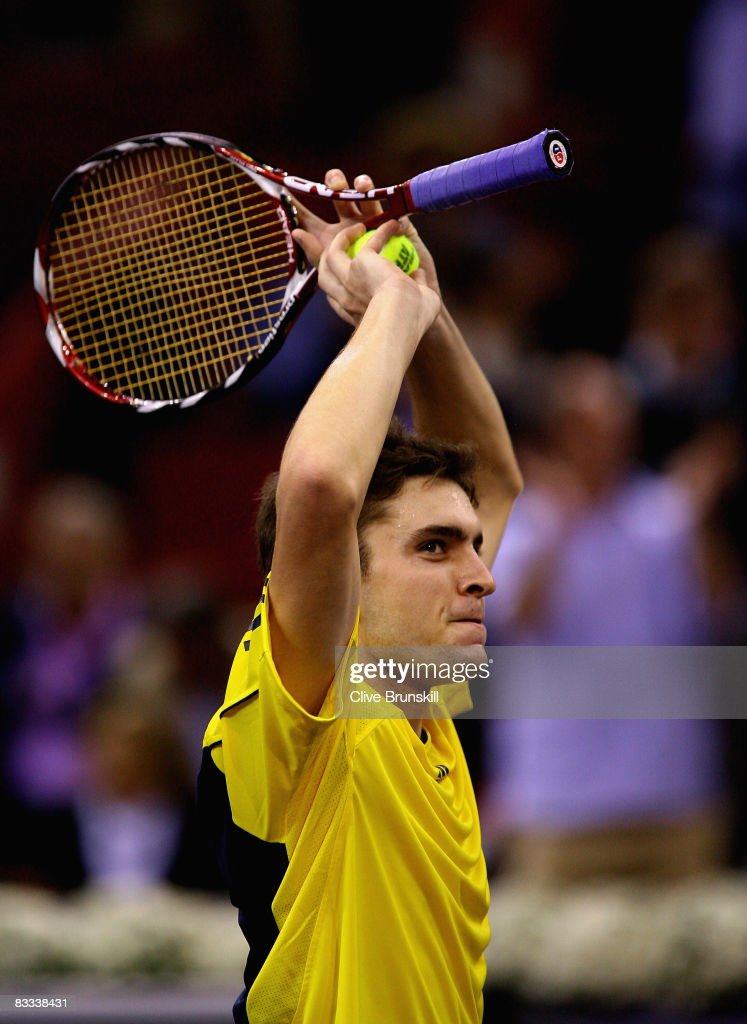 Gilles Simon of France celebrates match point against Rafael Nadal of Spain during their semi final match at the Madrid Masters tennis tournament at the Madrid Arena on October 18, 2008 in Madrid, Spain.