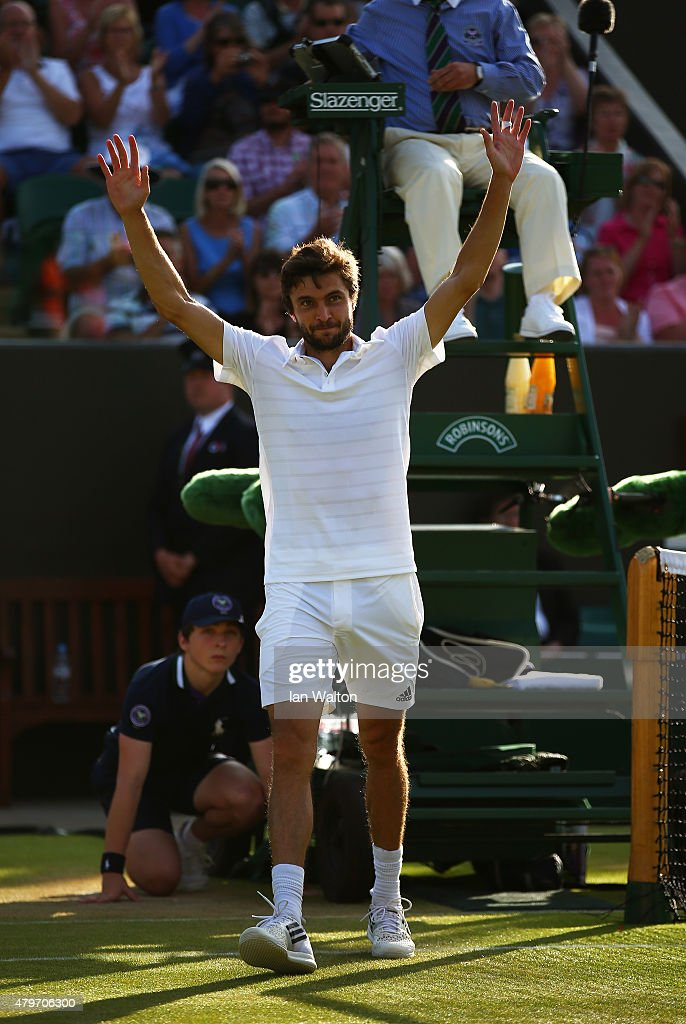 <a gi-track='captionPersonalityLinkClicked' href=/galleries/search?phrase=Gilles+Simon&family=editorial&specificpeople=548968 ng-click='$event.stopPropagation()'>Gilles Simon</a> of France celebrates victory in his Gentlemen's Singles Fourth Round match against Tomas Berdych of Czech Republic during day seven of the Wimbledon Lawn Tennis Championships at the All England Lawn Tennis and Croquet Club on July 6, 2015 in London, England.