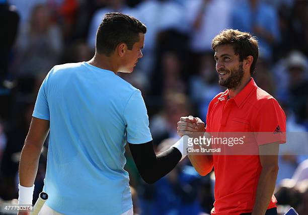 Gilles Simon of France celebrates victory in his men's singles quarterfinal match against Milos Raonic of Canada during day five of the Aegon...