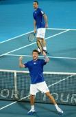 Gilles Simon of France celebrates winning the Mens singles final against Viktor Troicki of Serbia during day seven of the 2011 Medibank International...