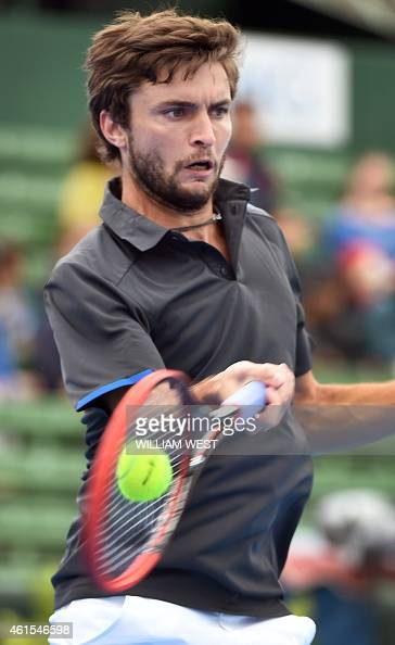 Gilles Simon of France hits a forehand return during his match against Filip Krajinovic of Serbia at the Kooyong Classic tennis event in Melbourne on...