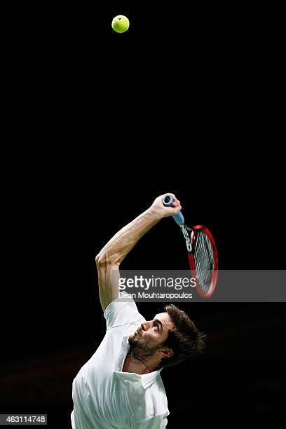 Gilles Simon of France in action against Joao Sousa of Portugal during day 2 of the ABN AMRO World Tennis Tournament held at the Ahoy Rotterdam on...