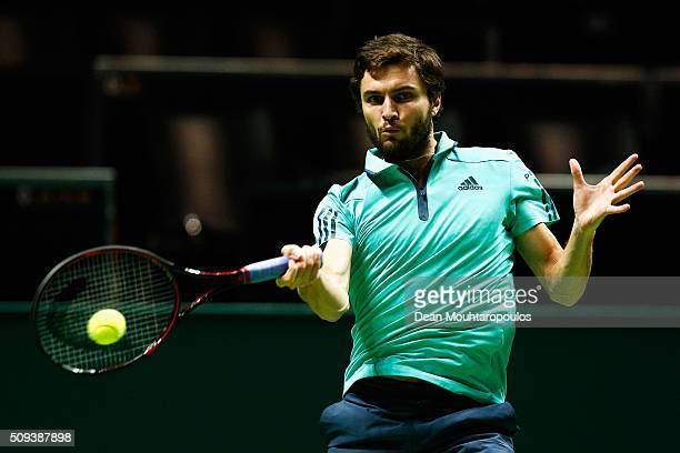 Gilles Simon of France in action against Robin Haase of the Netherlands during day 3 of the ABN AMRO World Tennis Tournament held at Ahoy Rotterdam...