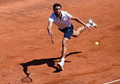 Gilles Simon of France in action during his First Round match against Jack Sock of USA on Day Two of the The Internazionali BNL d'Italia 2015 at the...