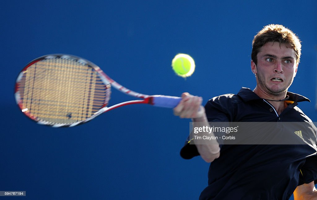 Gilles Simon of France in action during his loss to his fellow countryman Richard Gasquet in the men's second round match at the Medibank...