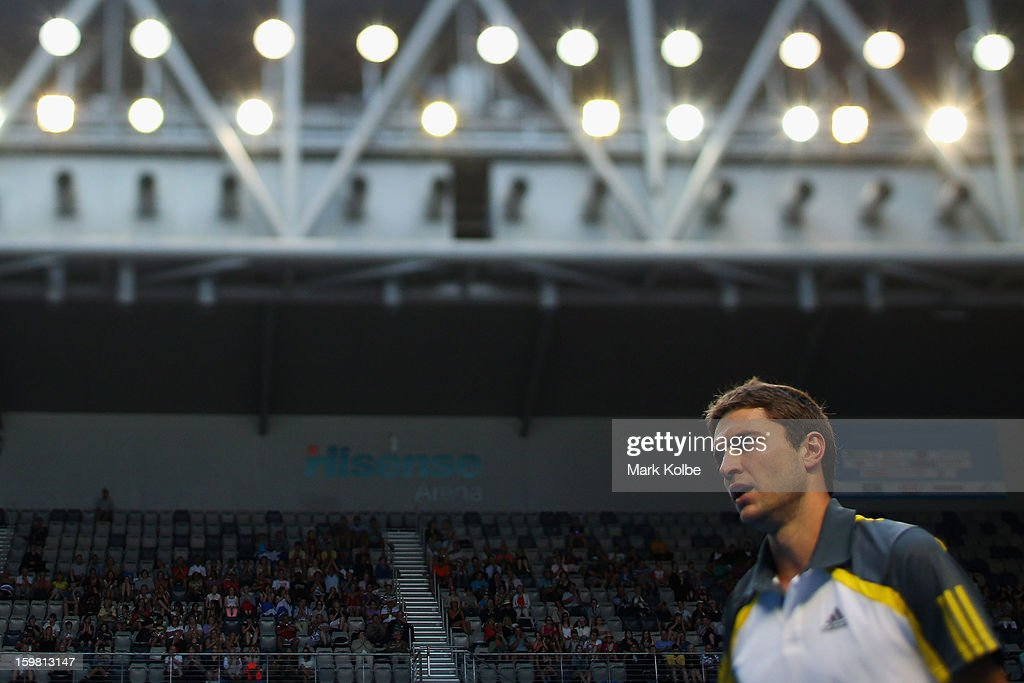 Gilles Simon of France looks on in his fourth round match against Andy Murray of Great Britain during day eight of the 2013 Australian Open at Melbourne Park on January 21, 2013 in Melbourne, Australia.