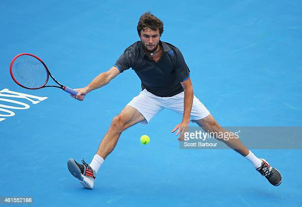 Gilles Simon of France plays a forehand during his match against Filip Krajinovic of Serbia during day three of the 2015 Priceline Pharmacy Classic...