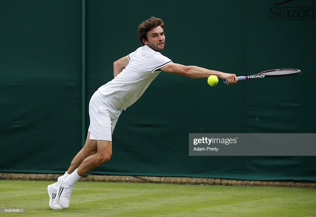 <a gi-track='captionPersonalityLinkClicked' href=/galleries/search?phrase=Gilles+Simon&family=editorial&specificpeople=548968 ng-click='$event.stopPropagation()'>Gilles Simon</a> of France plays a forehand shot during the against Janko Tipsarevic of Serbia on day one of the Wimbledon Lawn Tennis Championships at the All England Lawn Tennis and Croquet Club on June 27th, 2016 in London, England.