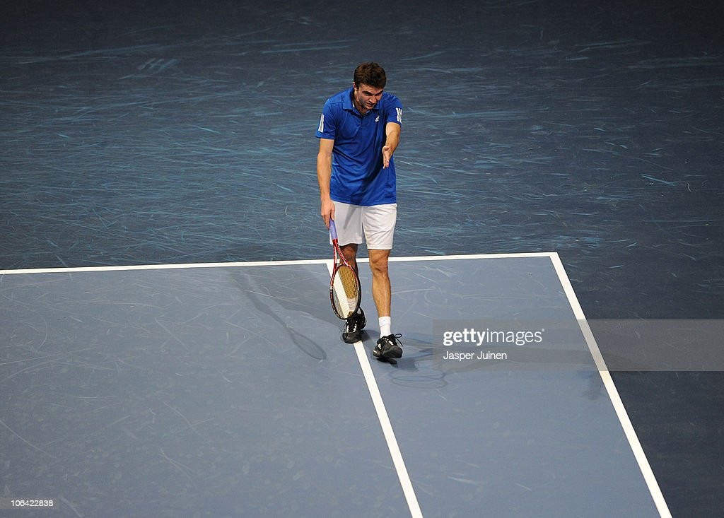 Gilles Simon of France reacts in his first round match against Sergiy Stakhovsky of Ukrain during the ATP 500 World Tour Valencia Open tennis tournament at the Ciudad de las Artes y las Ciencias on November 1, 2010 in Valencia, Spain.