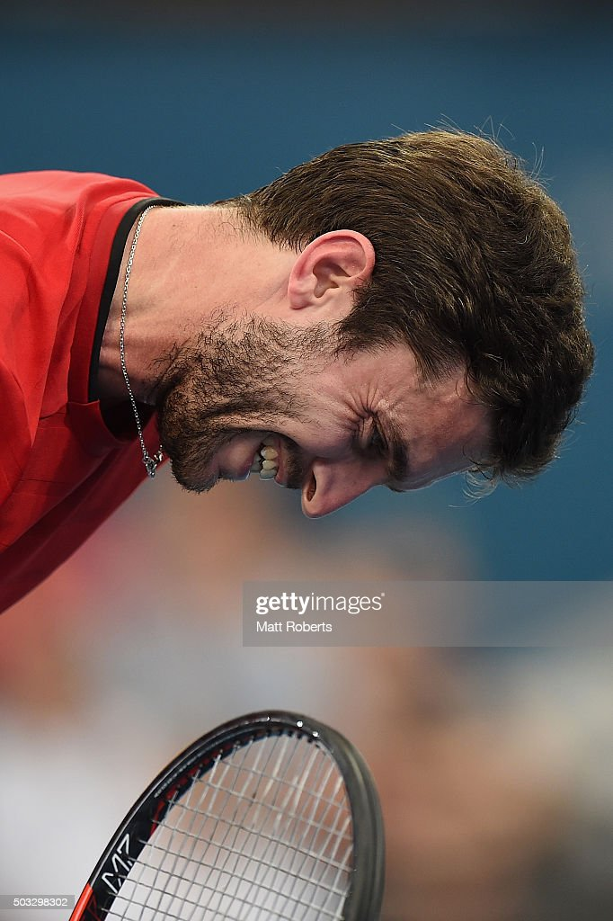 <a gi-track='captionPersonalityLinkClicked' href=/galleries/search?phrase=Gilles+Simon&family=editorial&specificpeople=548968 ng-click='$event.stopPropagation()'>Gilles Simon</a> of France reacts in his match against Grigor Dimitrov of Bulgaria during day two of the 2016 Brisbane International at Pat Rafter Arena on January 4, 2016 in Brisbane, Australia.