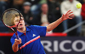 Gilles Simon of France returns a forehand during his semi final match against Mikhail Youzhny of Russia during the betathome German Open Tennis...