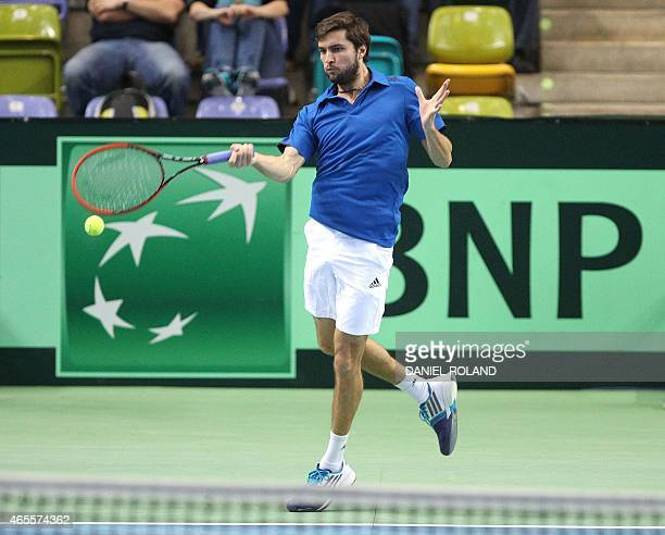 Gilles Simon of France returns the ball during the tennis Davis Cup match against Germany's Philipp Kohlschreiber in Frankfurt/Main Germany on March...