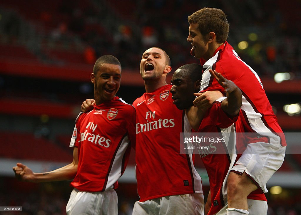 Gilles Sunu of Arsenal celebrates with team mates after scoring the first goal during the FA Youth Cup Final 1st Leg match between Arsenal and...