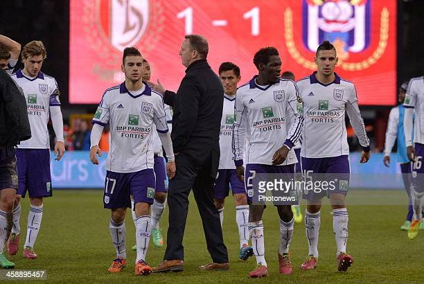 Gillet Guillaume Bruno Massimo headcoach John van den Brom Fabrice N'Sakala and Aleksandar Mitrovic of Rsc Anderlecht look dejected after the Jupiler...