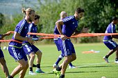 Gillet Guillaume of Rsc Anderlecht and Mitrovic Aleksandar forward of Rsc Anderlecht pictured during the training session of RSC Anderlecht at the...
