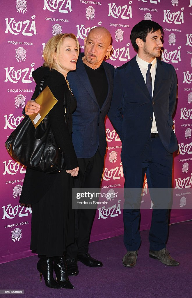 <a gi-track='captionPersonalityLinkClicked' href=/galleries/search?phrase=Gillian+Anderson&family=editorial&specificpeople=202894 ng-click='$event.stopPropagation()'>Gillian Anderson</a> and Ben Kingsley attend the opening night of Cirque Du Soleil's Kooza at Royal Albert Hall on January 8, 2013 in London, England.