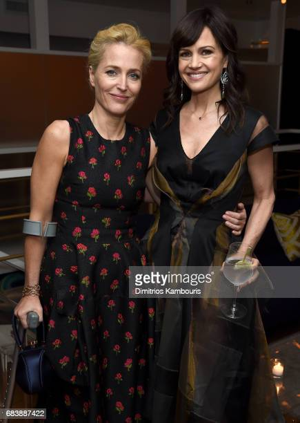 Gillian Anderson and Carla Gugino attend the 2017 CAA Upfronts Celebration Party at La Sirena on May 15 2017 in New York City