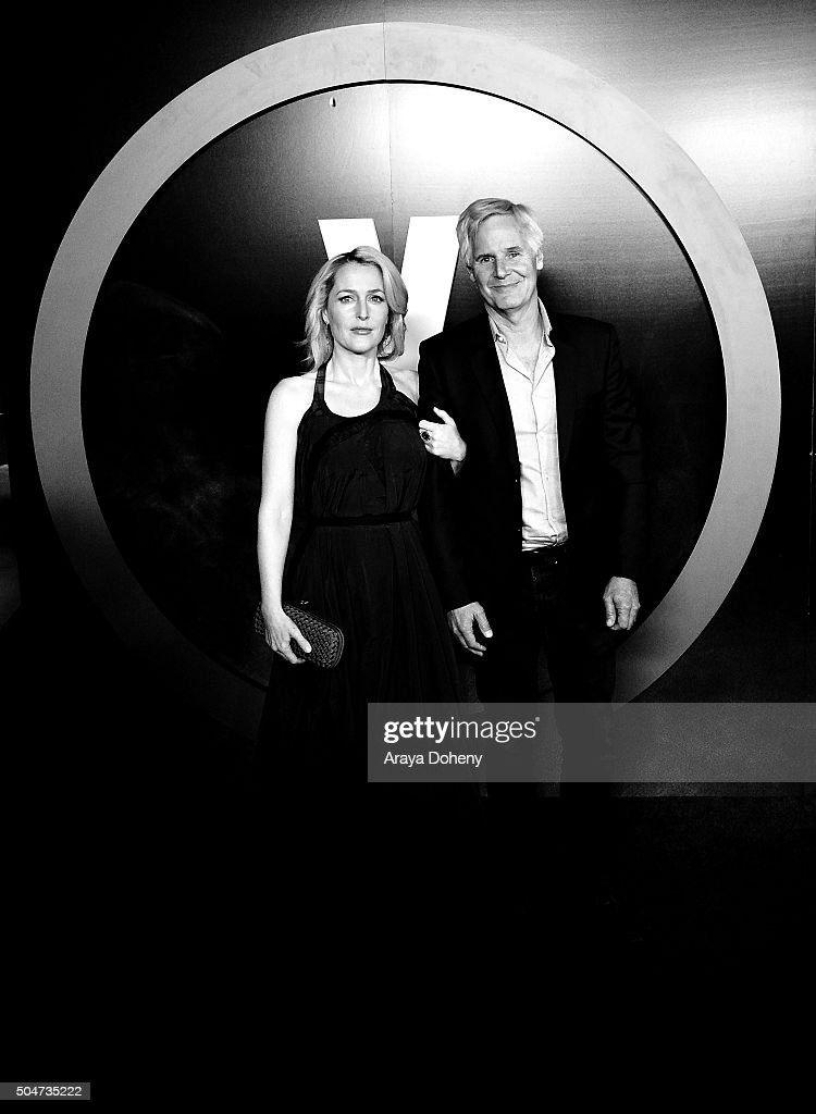 Gillian Anderson and Chris Carter attend 'The X-Files' Fox premiere at California Science Center on January 12, 2016 in Los Angeles, California.
