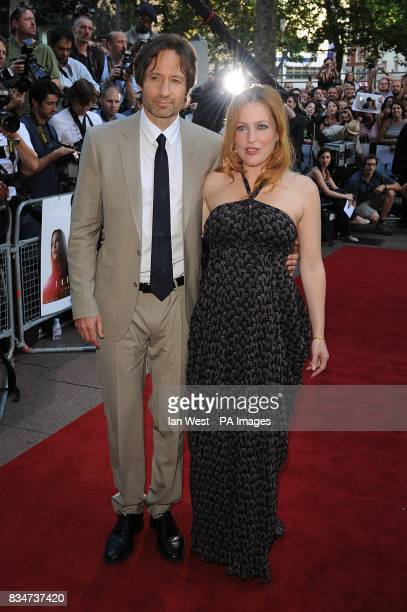 Gillian Anderson and David Duchovny arrive for the UK premiere of 'The X Files I want to Believe' at the Empire Leicester Square WC2