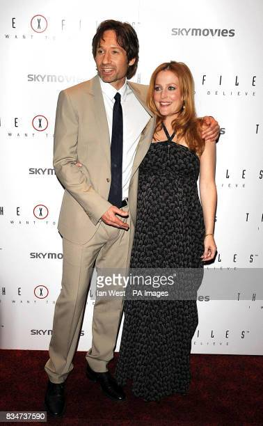 Gillian Anderson and David Duchovny arrive for the UK premiere of 'The X Files I want to Believe' at the Empire Leicester Square in central London