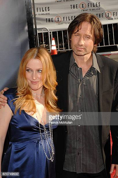 Gillian Anderson and David Duchovny attend 20th Century Fox World Premiere Of 'The X Files I Want To Believe' at Graumans Chinese Theater on July 23...