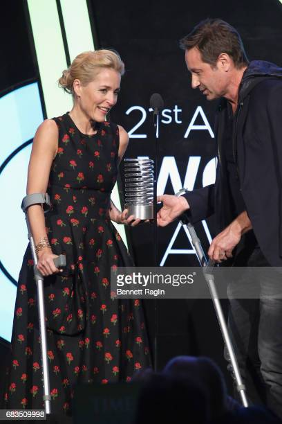 Gillian Anderson and David Duchovny speak onstage at the The 21st Annual Webby Awards at Cipriani Wall Street on May 15 2017 in New York City