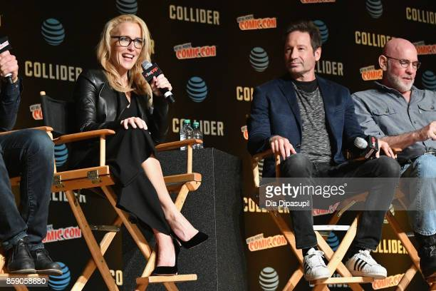 Gillian Anderson and David Duchovny speak onstage at The XFiles panel during 2017 New York Comic Con Day 4 on October 8 2017 in New York City