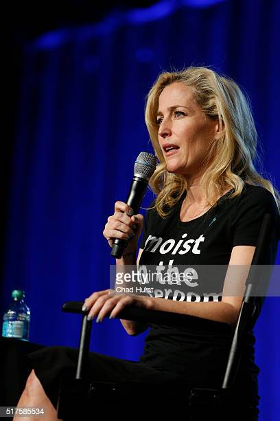 Gillian Anderson attends the 2016 Salt Lake Comic Con Fan Xperience at Salt Palace Convention Center on March 25 2016 in Salt Lake City Utah