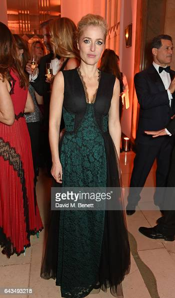 Gillian Anderson attends the annual BFI Chairman's Dinner honouring Peter Morgan with the BFI Fellowship at Claridge's Hotel on February 21 2017 in...