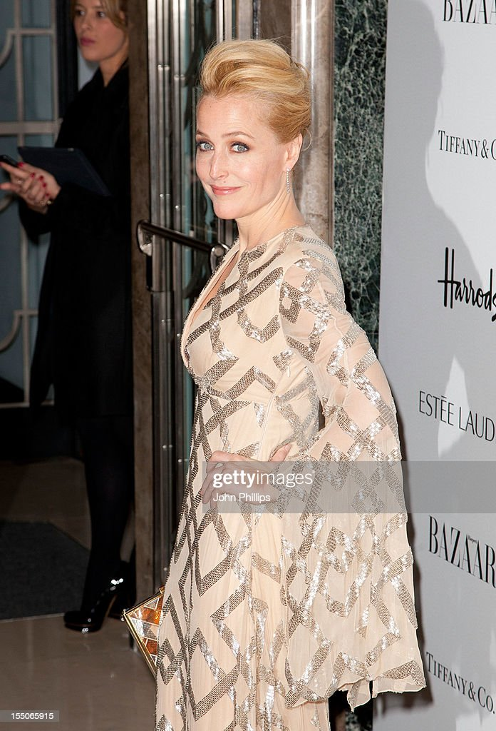 Gillian Anderson attends the Harper's Bazaar Woman of the Year Awards at Claridge's Hotel on October 31, 2012 in London, England.