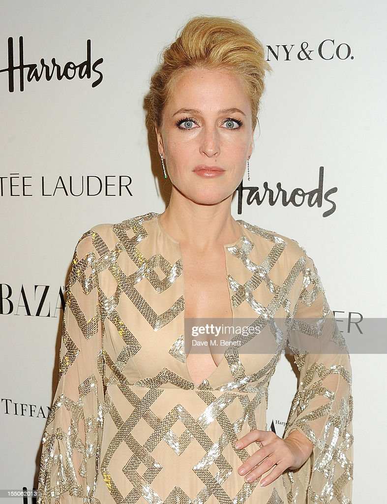 Gillian Anderson attends the Harper's Bazaar Women of the Year Awards 2012, in association with Estee Lauder, Harrods and Tiffany & Co., at Claridge's Hotel on October 31, 2012 in London, England.