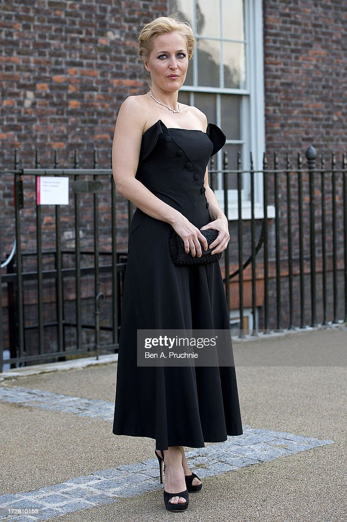 <a gi-track='captionPersonalityLinkClicked' href=/galleries/search?phrase=Gillian+Anderson&family=editorial&specificpeople=202894 ng-click='$event.stopPropagation()'>Gillian Anderson</a> attends the launch party for the Fashion Rules exhibition, a collection of dresses worn by HRH Queen Elizabeth II, Princess Margaret and Diana, Princess of Wales at Kensington Palace on July 4, 2013 in London, England.