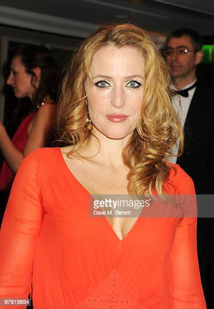 Gillian Anderson attends The Laurence Olivier Awards at the Grosvenor House Hotel on March 21 2010 in London England