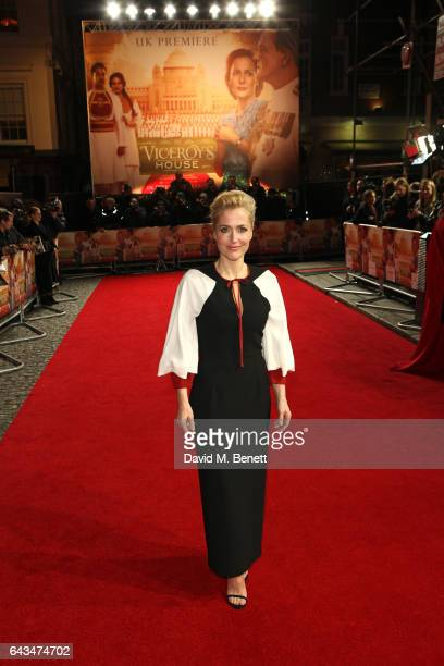 Gillian Anderson attends the UK Premiere of 'Viceroy's House' at The Curzon Mayfair on February 21 2017 in London England