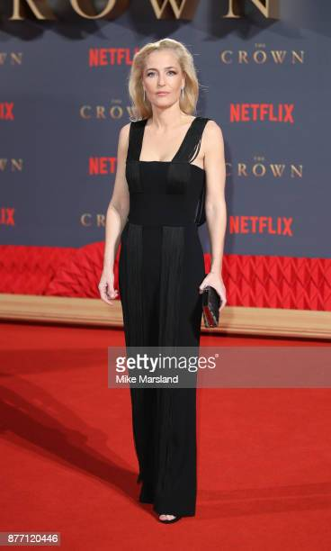 Gillian Anderson attends the World Premiere of season 2 of Netflix 'The Crown' at Odeon Leicester Square on November 21 2017 in London England