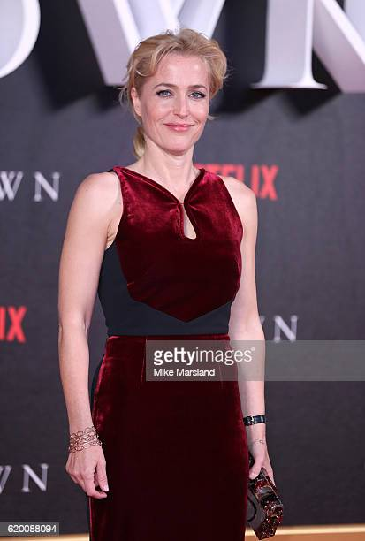 Gillian Anderson attends the world premiere of 'The Crown' at Odeon Leicester Square on November 1 2016 in London England