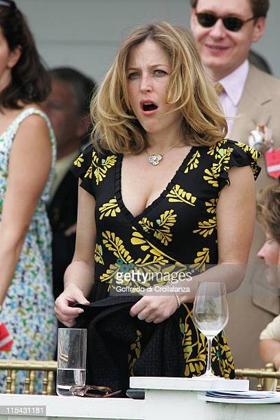 Gillian Anderson during Polo The Cartier Queen's Cup Final June 18 2006 at Guards Polo Club in Windsor Great Park Great Britain