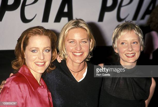 Gillian Anderson Ellen DeGeneres and Anne Heche during PETA Honors The Animal Rights Movement at Paramount Studios in Hollywood California United...