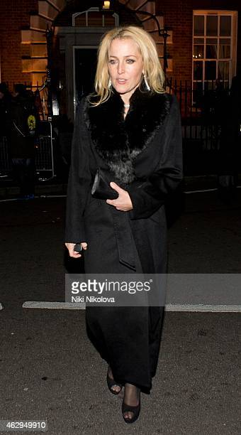 Gillian Anderson is seen leaving Annabels Culb Mayfair on February 7 2015 in London England