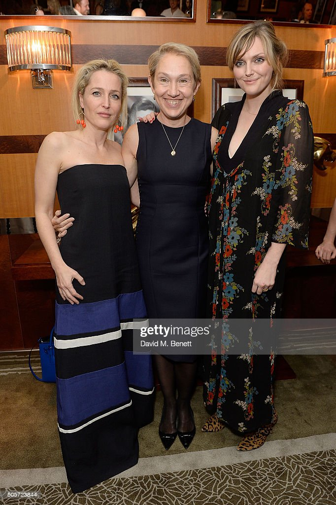 Gillian Anderson, Justine Picardie and Sophie Dahl attend a dinner in honour of Justine Picardie to celebrate the book 'Dior by Avedon' at the Beaumont Hotel on January 19, 2016 in London, England.
