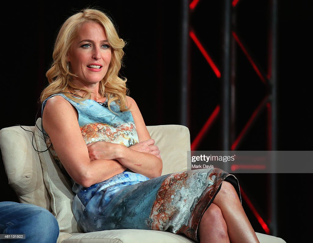 <a gi-track='captionPersonalityLinkClicked' href=/galleries/search?phrase=Gillian+Anderson&family=editorial&specificpeople=202894 ng-click='$event.stopPropagation()'>Gillian Anderson</a> speaks onstage about The Fall during the Netflix TCA Press Tour at Langham Hotel on January 7, 2015 in Pasadena, California.