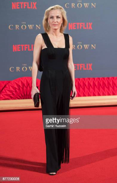 Gillian Andersonattends the World Premiere of season 2 of Netflix 'The Crown' at Odeon Leicester Square on November 21 2017 in London England