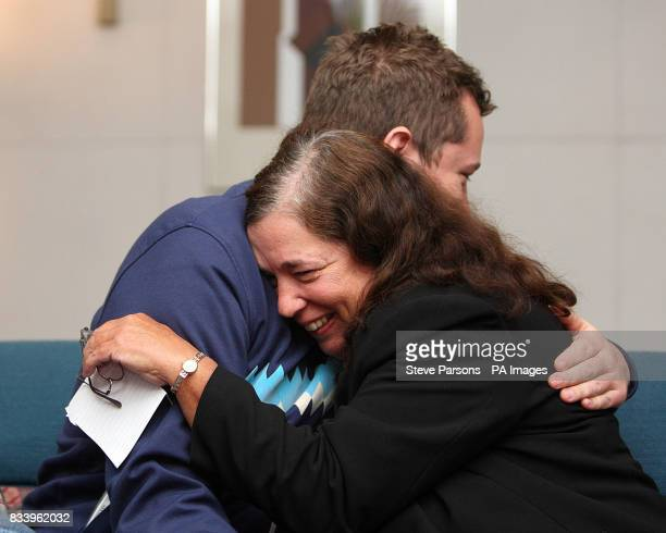 Gillian Gibbons the British teacher who was jailed in Sudan for allowing her students to name a teddy bear Mohammed hugs her son John after landing...