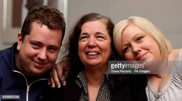 Gillian Gibbons the British teacher who was jailed in Sudan for allowing her students to name a teddy bear Mohammed hugs her son John and daughter...