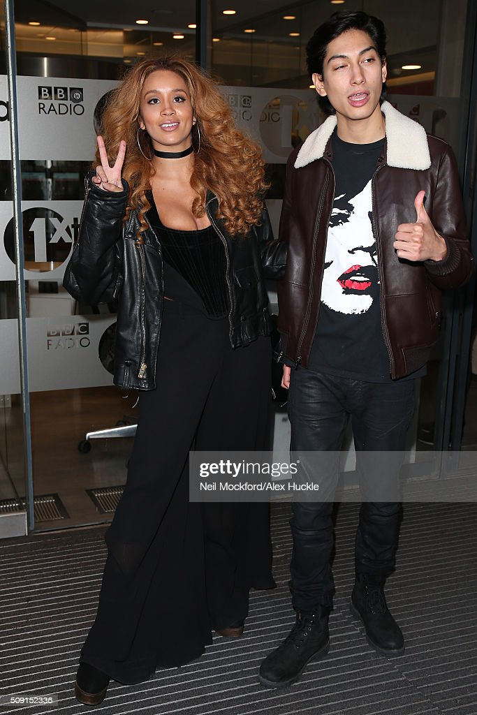 Gillian Hervey and Lucas Goodman from 'Lion Babe' seen at BBC Radio One after performing in the Live Lounge on February 9, 2016 in London, England.